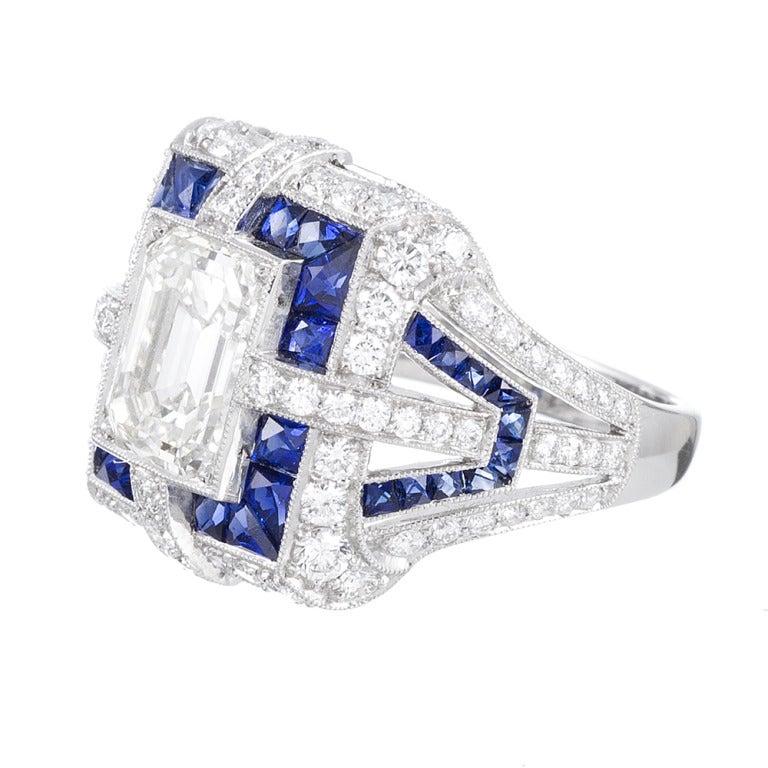 sapphire emerald cut ring at 1stdibs