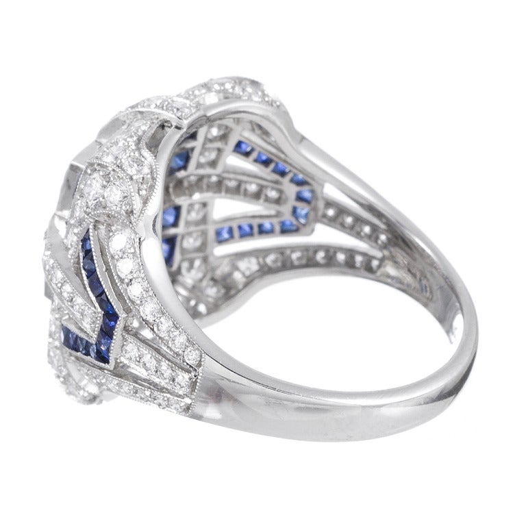 sapphire emerald cut ring at 1stdibs
