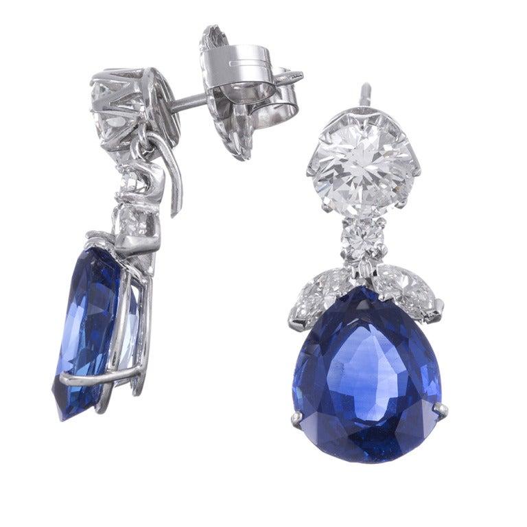 Important No Heat Sapphire Diamond Earrings 2