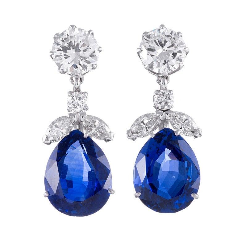 Important No Heat Sapphire Diamond Earrings 1