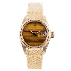 Rolex Ladies Yellow Gold Tiger's Eye Dial Datejust Wristwatch Ref 6900