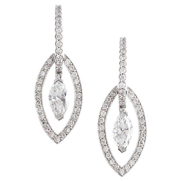 Modern Bridal Marquise Diamond Earrings For