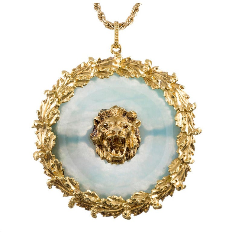 Buccellati Large Jade Medallion with Lion Motif