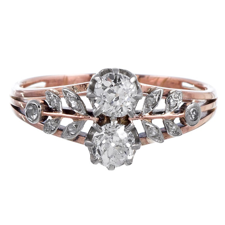 Sweet Victorian Diamond Flower Ring For Sale