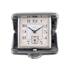 Rolex Art Deco Metal Travel Clock circa 1920s