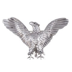 Large Sterling Silver Eagle Brooch