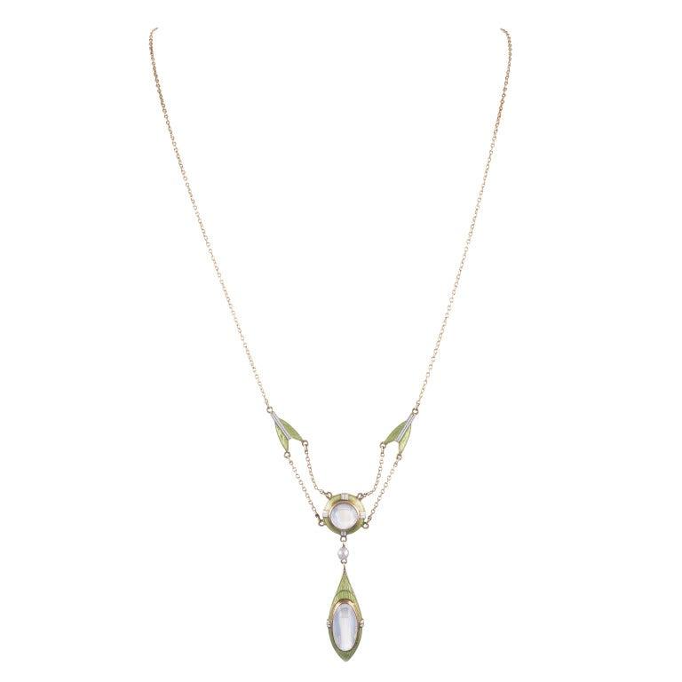Art Nouveau Enamel Moonstone Necklace 2