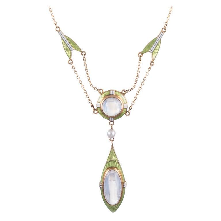 Art Nouveau Enamel Moonstone Necklace 1