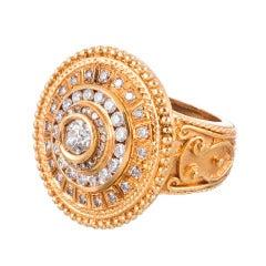 High Carat Gold and Diamond Byzantine Ring