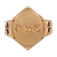 Yellow Gold Signet Ring, Dated 1877