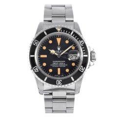 Rolex Stainless Steel Submariner Wristwatch with Orange Patina Dial Ref 1680 circa 1970s