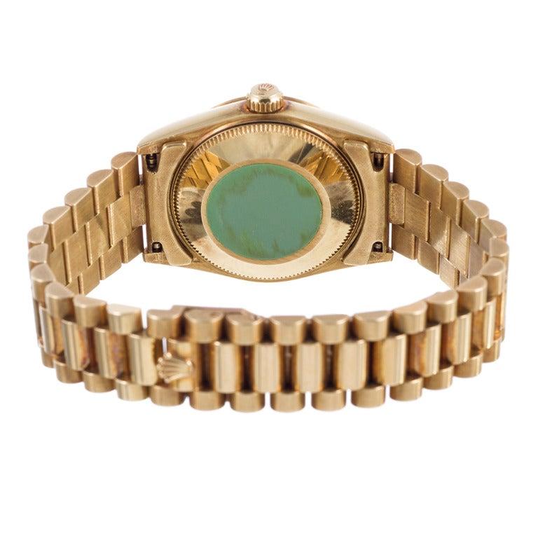 Women's Rolex Yellow Gold Lady President Wristwatch with Original Patina circa 1990s