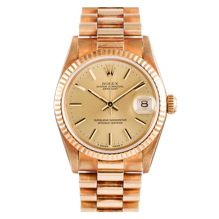 Rolex Yellow Gold Lady President Wristwatch with Original Patina circa 1990s