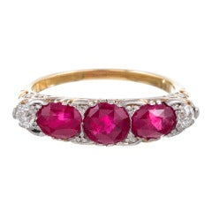 Antique Ruby Diamond Gold Platinum Carved Ring