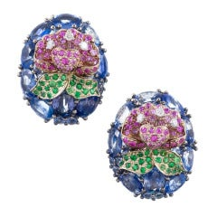 Three-Dimensional Sapphire Flower Earrings
