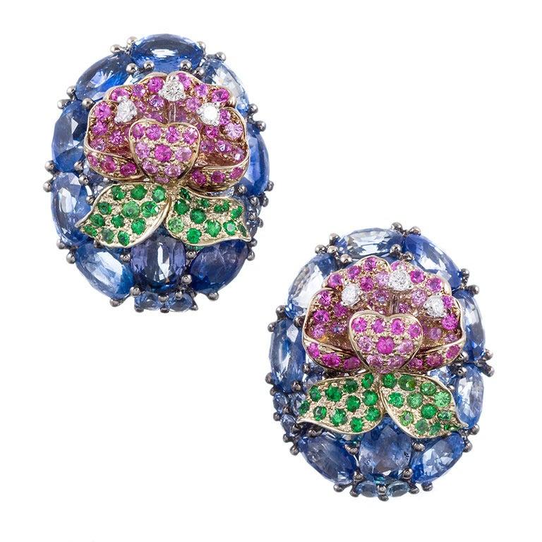 Three-Dimensional Sapphire Flower Earrings