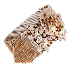 Victorian Enamel Yellow Gold Tassel Bracelet