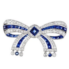 Cartier Important Early Art Deco Sapphire Diamond Bow Pin