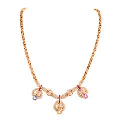 Sapphire Ruby Diamond Gold Necklace