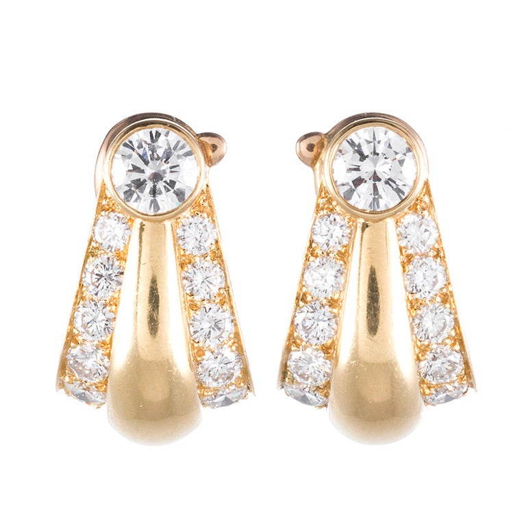 Cartier Sophisticated Diamond Gold Hoop Earrings