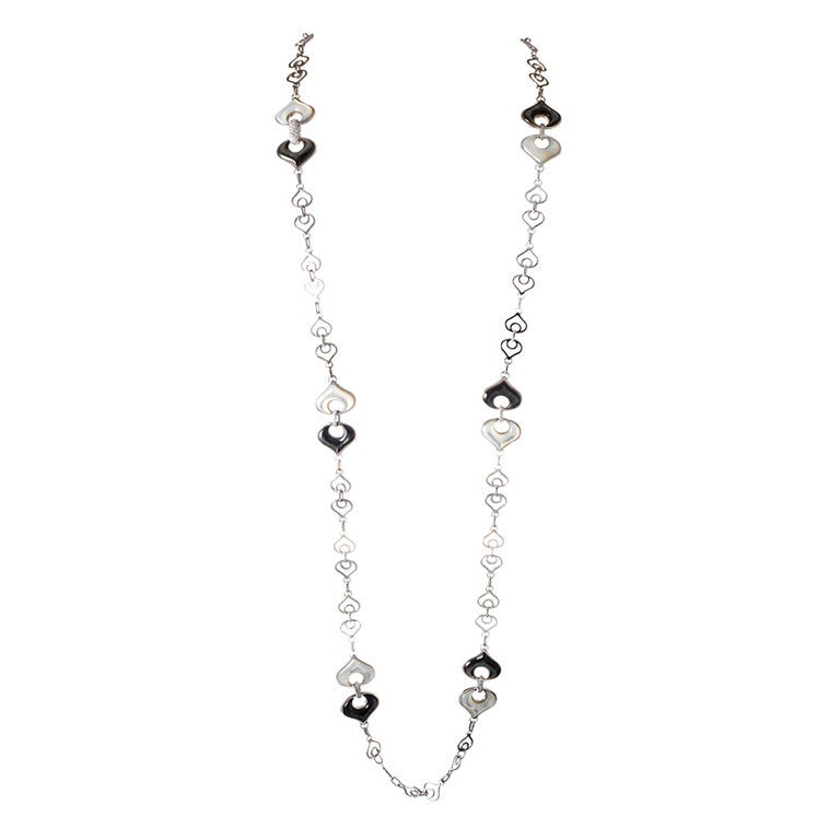 Marina B Necklace Links of Black and White Mother-of-Pearl