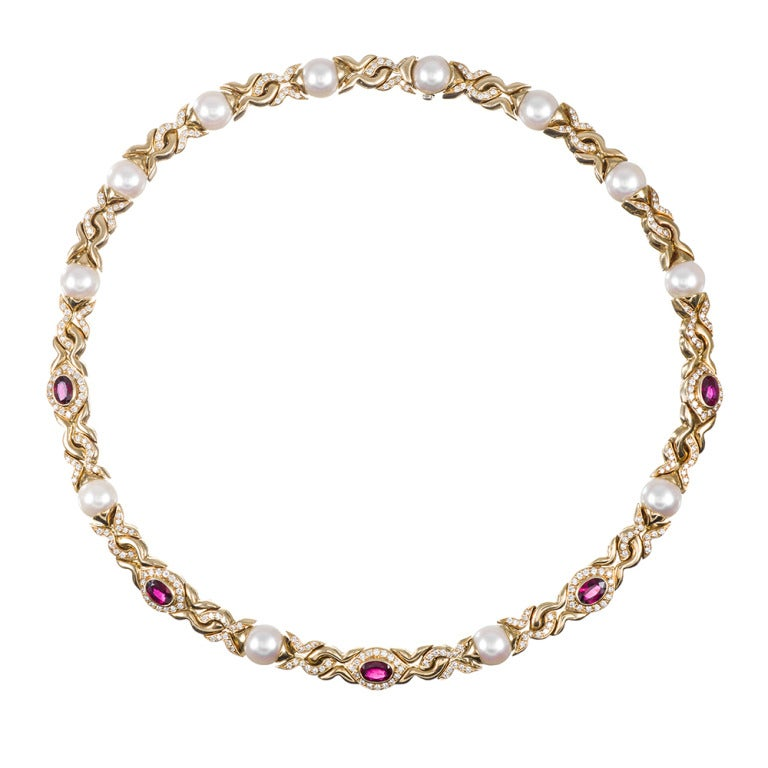 Bulgari Pearl Ruby Diamond Necklace For Sale At 1stdibs