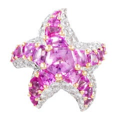 French Pink Sapphire Diamond Star Ring