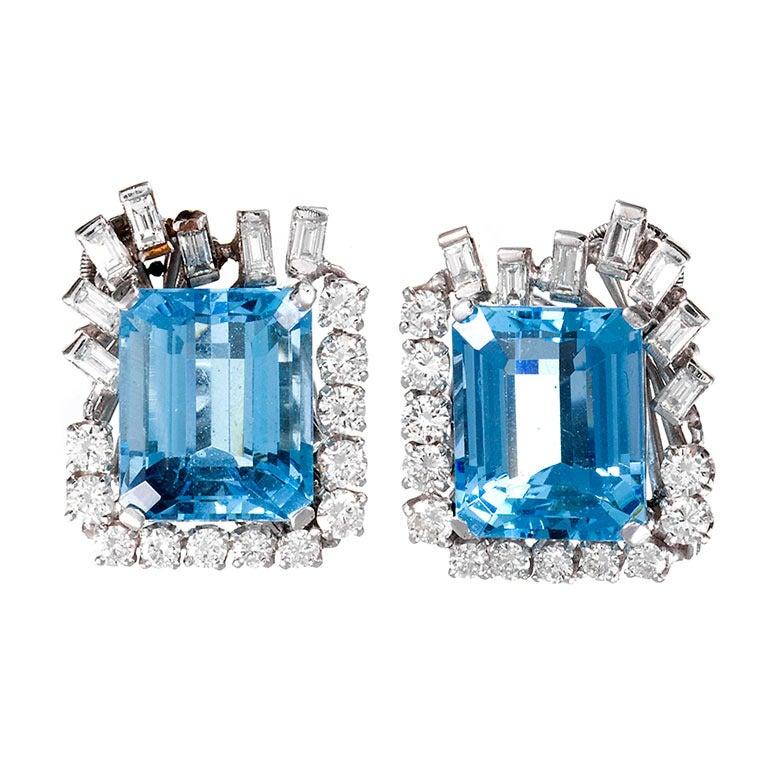 1950s Aquamarine Diamond Platinum Earrings For Sale
