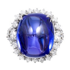 Important 32.18 Carat Sugarloaf Tanzanite Diamond Cocktail Ring