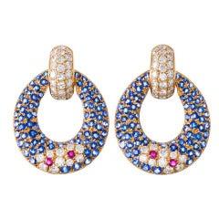 Contemporary Ruby Sapphire Diamond Drop Earrings