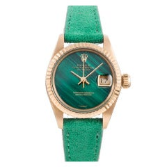 Rolex Lady's Yellow Gold Datejust Wristwatch with Malachite Dial circa 1970s