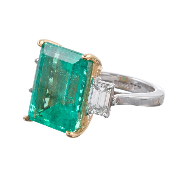 An eye for detail: After several generations creating fine jewelry originating in Naples, Italy, it's not surprising that this three-stone emerald cut ring by Aletto Brothers stands out above the rest. The stones incorporated are perfectly suited