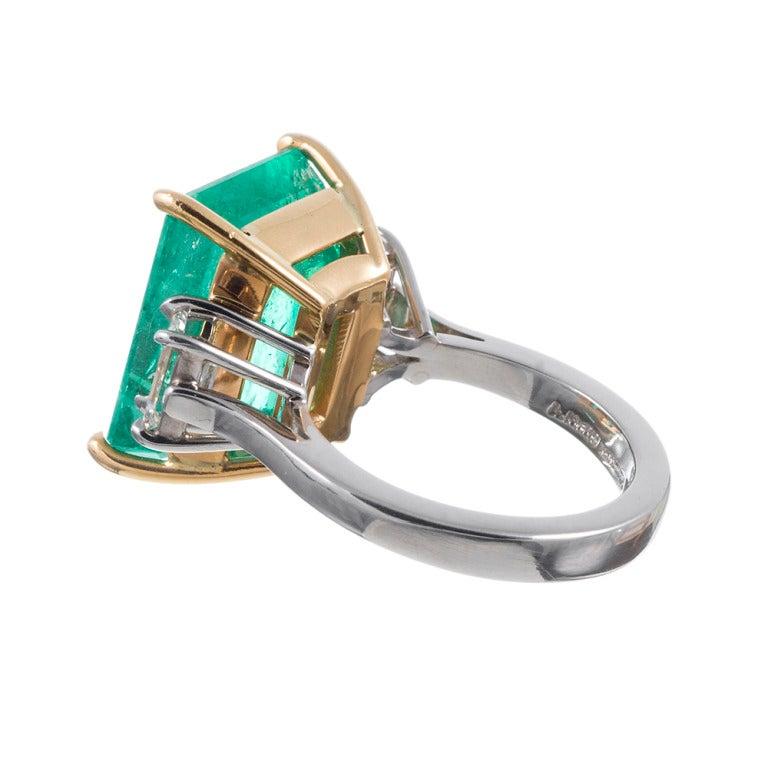 Emerald Cut Aletto Brothers Emerald Diamond Three-Stone Ring For Sale
