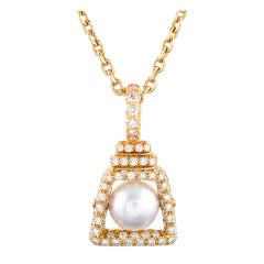 Henry Dunay Pearl Diamond Yellow Gold Pendant