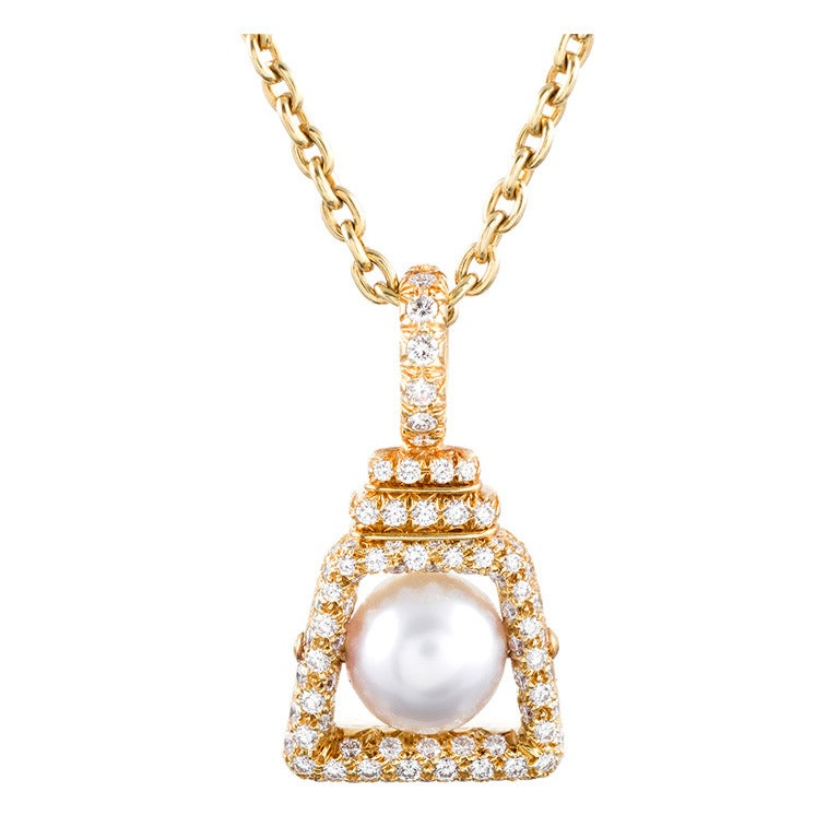 Henry Dunay Pearl Diamond Yellow Gold Pendant