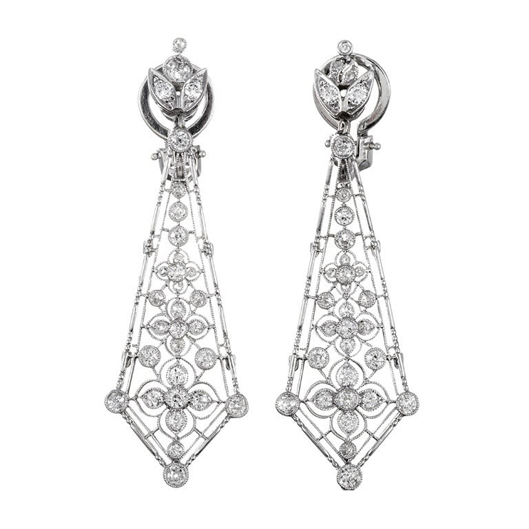 Platinum Edwardian Diamond Drop Earrings For Sale