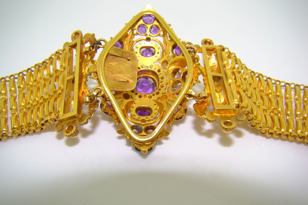 French Handmade 18k Yellow Gold And Amethyst Bracelet And