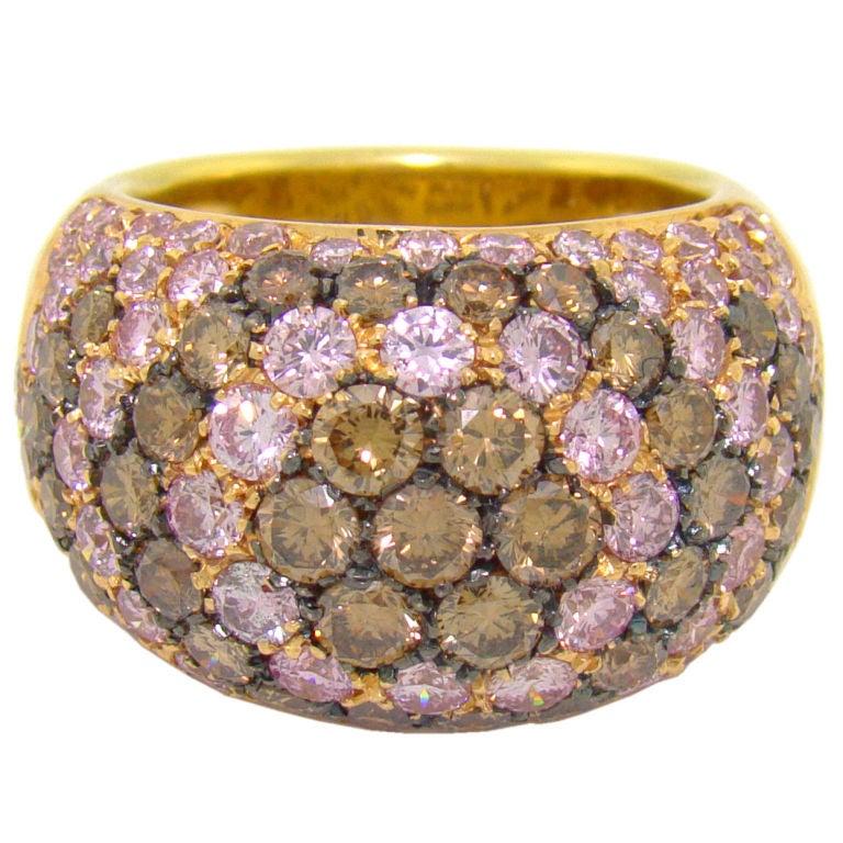 Luca Carati Pink Diamond And Brown Diamond Ring In 18k