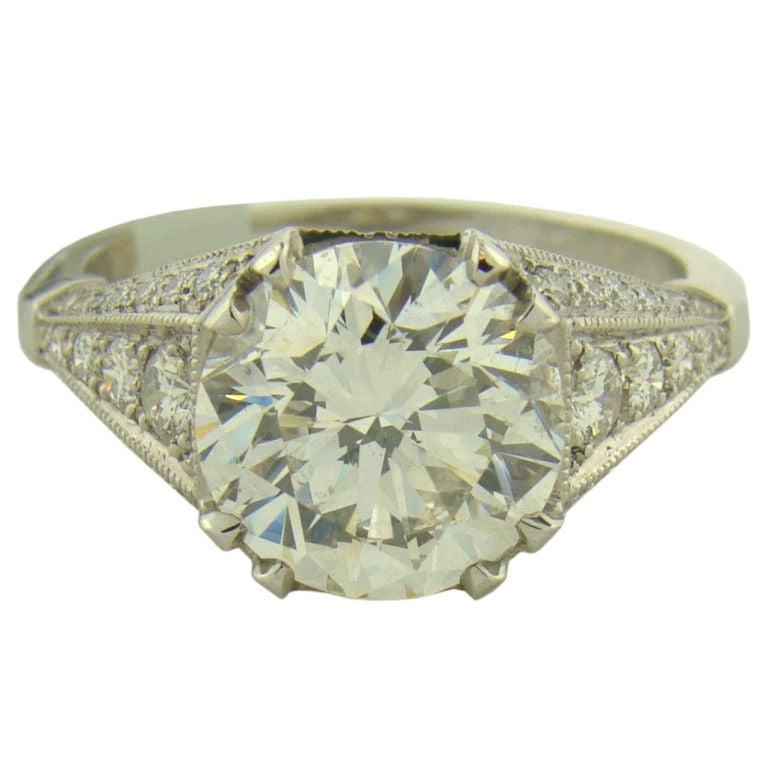 3.35 Ct. Diamond And Platinum Ring W/ IGI Certificate At