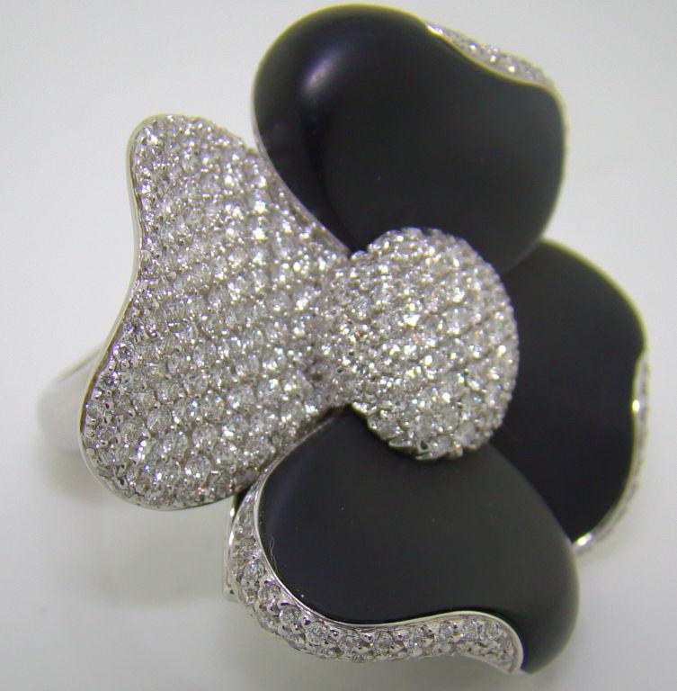 onyx tsavorite and 18k white gold ring at 1stdibs