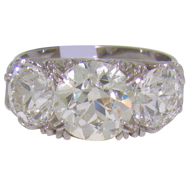 18 Karat White Gold and Diamond English Carved Ring at 1stdibs