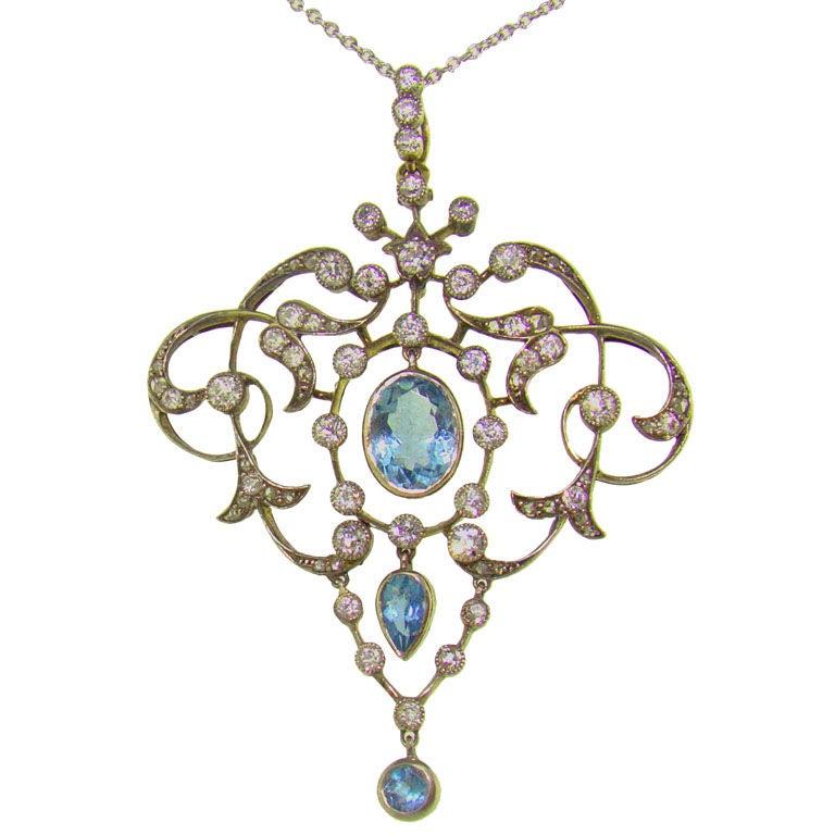 Platinum 18K Yellow Gold, Aquamarine & Diamond Victorian Pendant For Sale