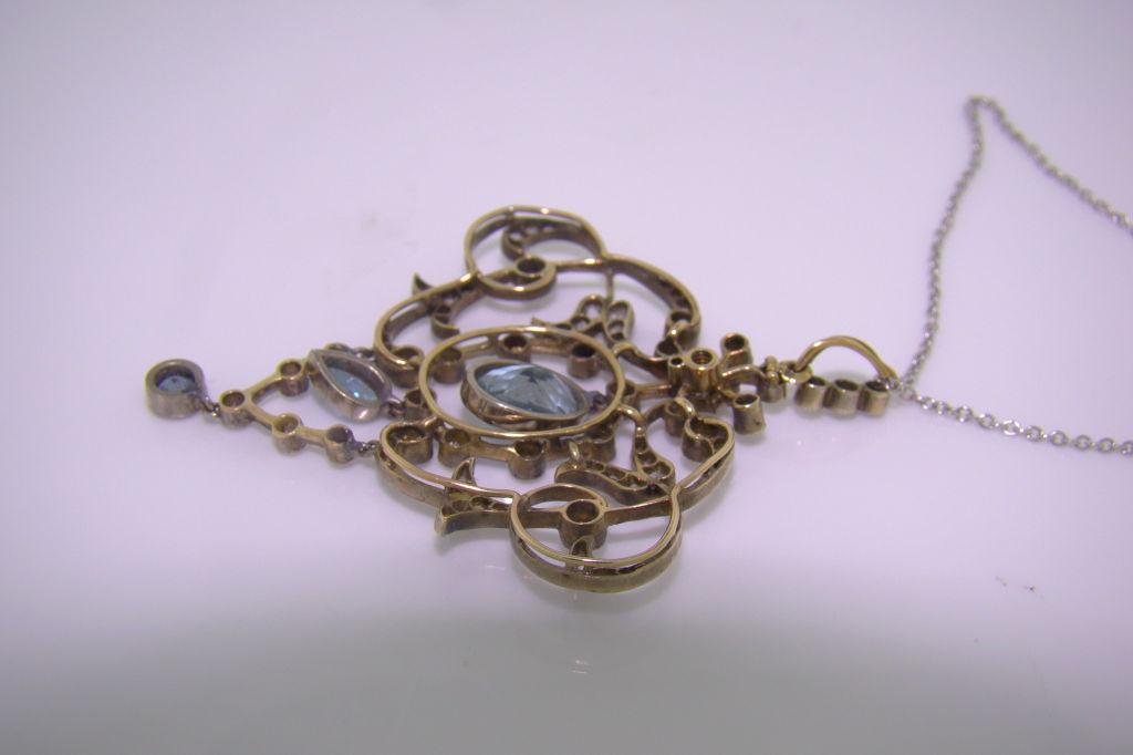 Women's Platinum 18K Yellow Gold, Aquamarine & Diamond Victorian Pendant For Sale