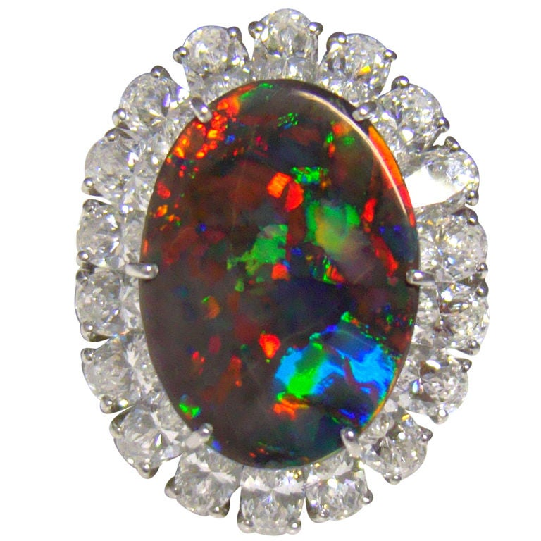 CARTIER rare Black Opal and DIamond Ring at 1stdibs