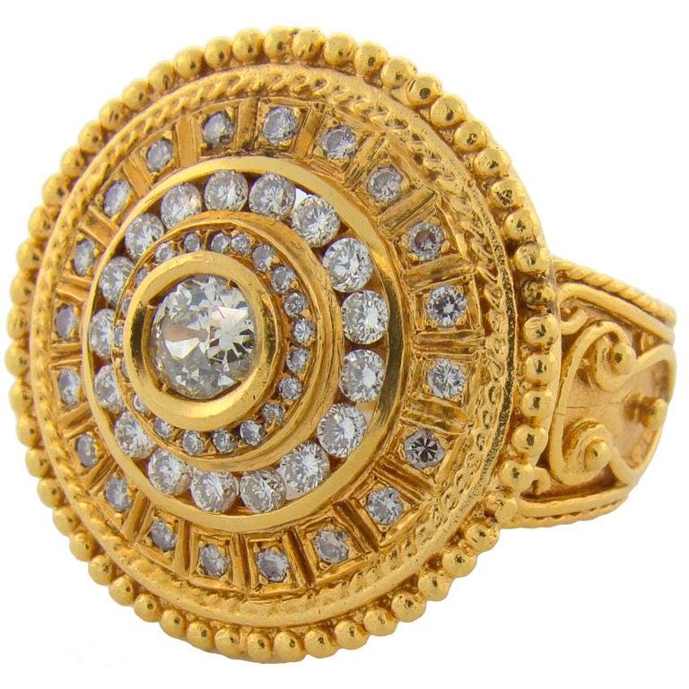 22 Karat Yellow Gold & Diamond Ring 1
