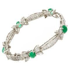 Platinum, Emerald & Diamond Bow Bracelet