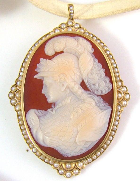 18K Yellow Gold & Pearl Large Victorian Cameo Pendant/Brooch Combination - Greek Goddess Athena Cameo, circa 1880