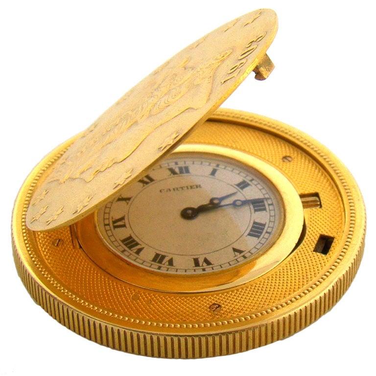 cartier 18k yellow gold coin watch at 1stdibs pocket watch clip art borders pocket watch free clip art