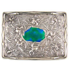 Unique Enamel English Sterling Silver Tray dated 1901