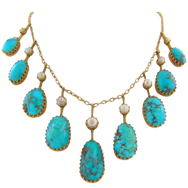 Victorian turquoise natural pearls and 15k yellow gold necklace at